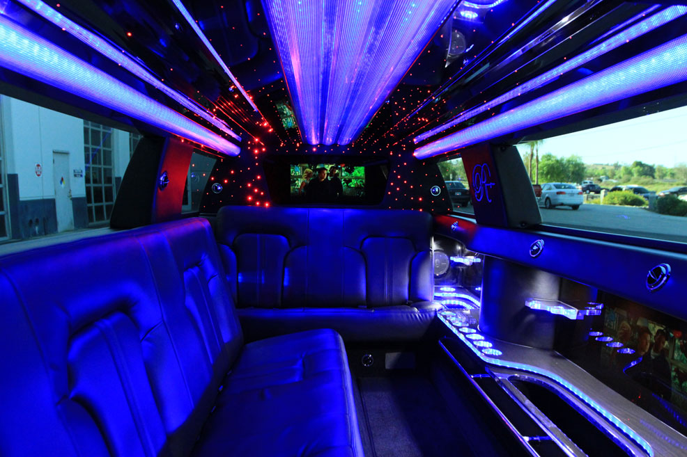 Limousine interior TV screen