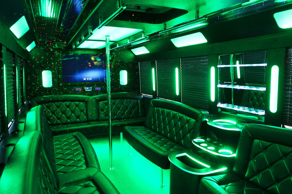 Limo Van interior with screen