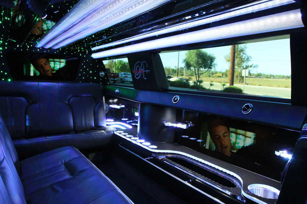 Black Limousine interior with TV screen
