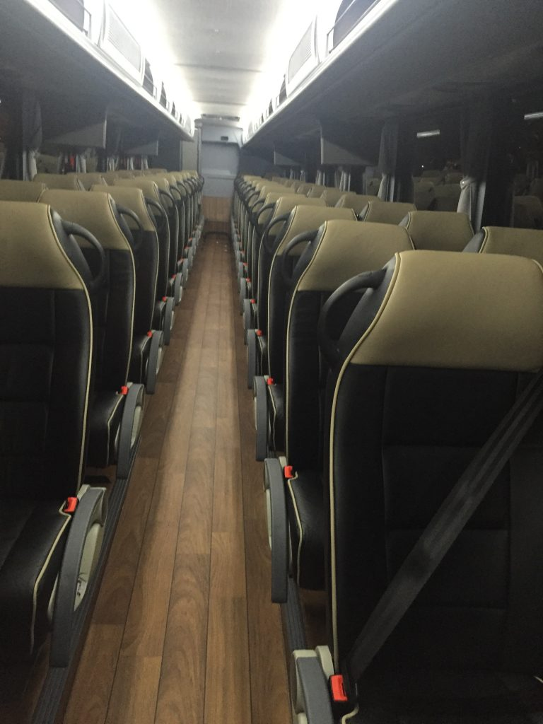 White limousine bus interior4